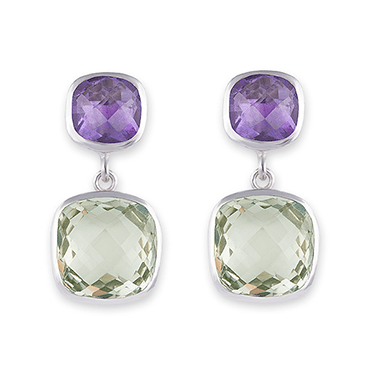 Rhodium Plated Sterling Silver Green & Purple Amethyst Cushion Earrings