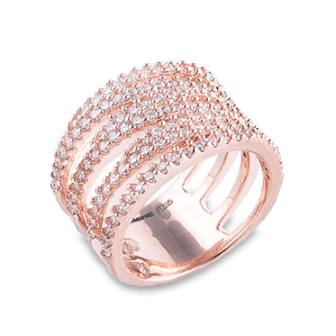 Rose Gold 4 Row Crossover Ring