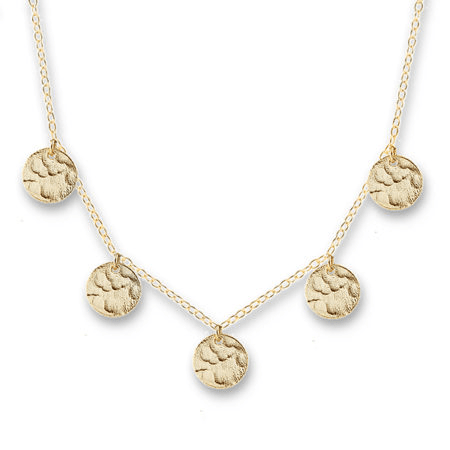 Yellow Gold Plated Sterling Silver Scattered Jingle Necklace