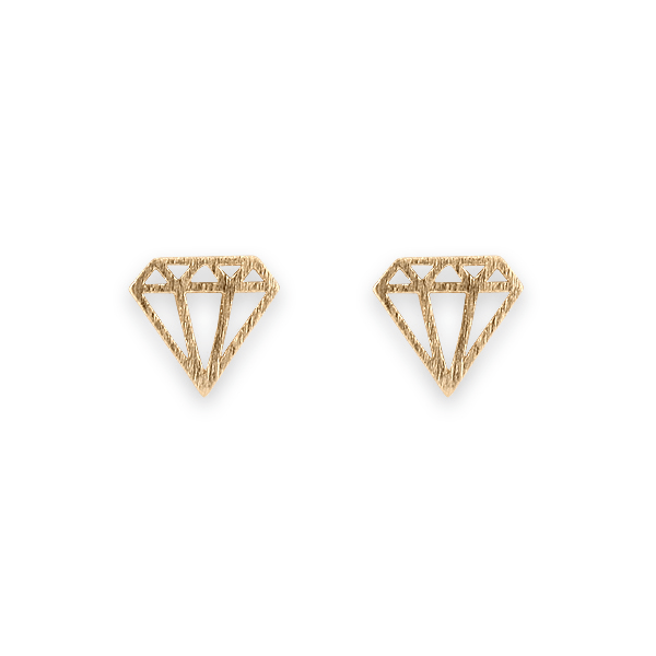 Gold Satin Finish Diamond Shape Earrings