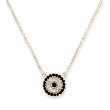 Gold CZ Round Evil Eye Necklace