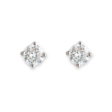 Rhodium Plated Sterling Silver Small CZ Claw Set Stud Earrings