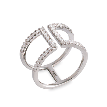 Rhodium Plated Sterling Silver CZ Open Double Band Ring