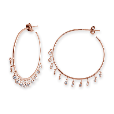 Rose Gold Plated Sterling Silver Bezel Set CZ Drop Hoop Earrings