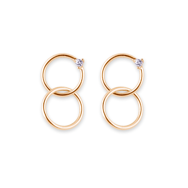 Gold Plated Sterling Silver Linked Circle CZ Drop Earrings