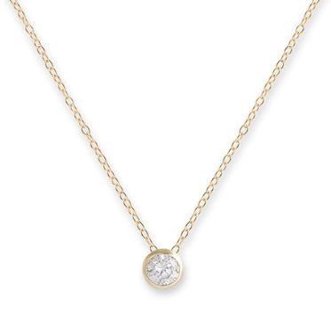 Yellow Gold Plated Sterling Silver Bezel Set CZ Pendant Necklace
