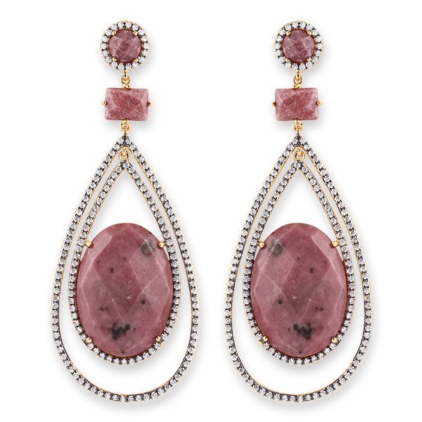 Yellow Gold Plated Sterling Silver Rhodonite & CZ Earrings