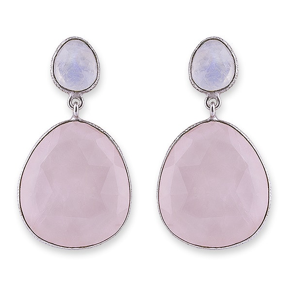 Rhodium Plated Sterling Silver Moonstone & Rose Quartz Earrings