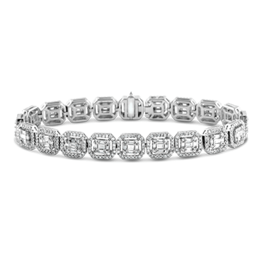Invisibly Set Baguette Diamond Halo Bracelet