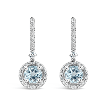 Round Aquamarine & Diamond Drop Earrings