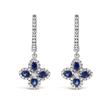 Sapphire & Diamond Clover Drop Earrings