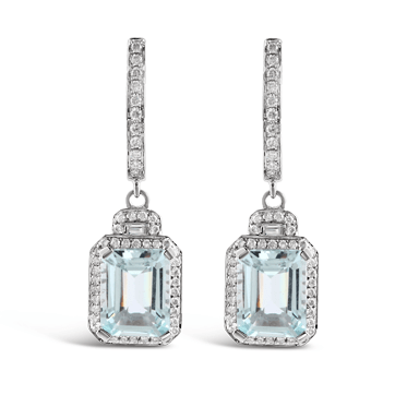 Emerald Cut Aquamarine & Diamond Drop Earrings