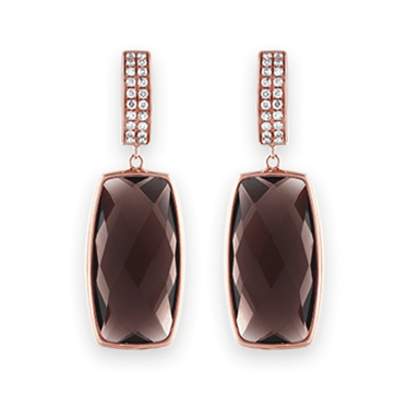 Rose Gold, Oblong Smokey Quartz & Diamond Drop Earrings