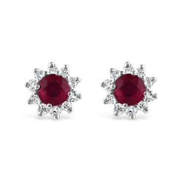 Round Ruby & Diamond Flower Halo Stud Earrings