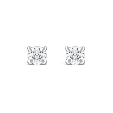Round Four Claw Diamond Stud Earrings