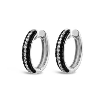 Black & White Diamond Huggie Earrings