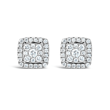 Square Illusion Set Diamond Stud Earrings
