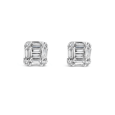 Illusion Set Baguette & Round Diamond Stud Earrings
