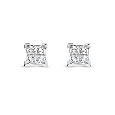 Illusion Set Princess Cut Diamond Stud Earrings