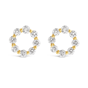 Yellow Gold Diamond Circle Stud Earrings
