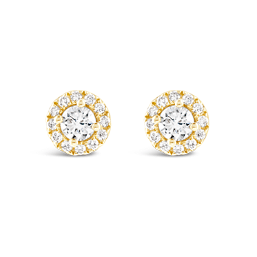 Yellow Gold Diamond Halo Stud Earrings