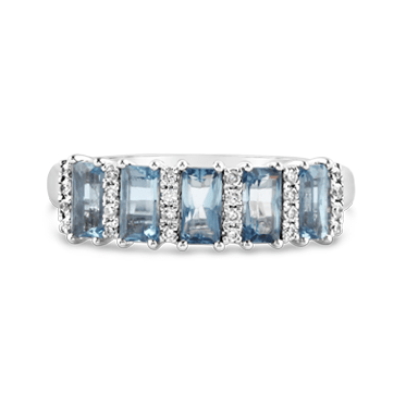 Five Stone Aquamarine & Diamond Ring