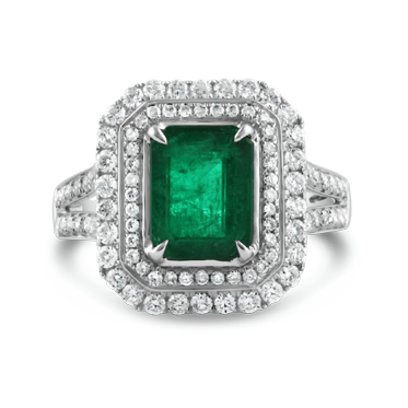 Emerald and Diamond White Gold Dress Ring