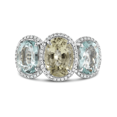 Three Stone Aquamarine, Green Beryl & Diamond Ring
