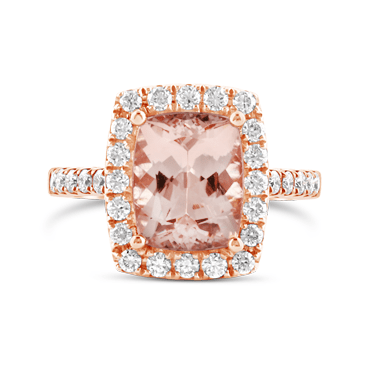 Rose Gold, Cushion Cut Morganite & Diamond Halo Ring