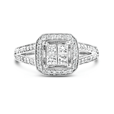 Princess Cut Square Split Band Diamond Engagement Ring