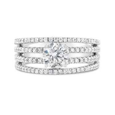 Four Band Fine Claw Set Diamond Engagement Ring