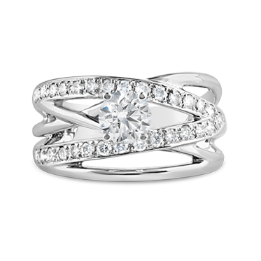 Five Band Crossover Diamond Engagement Ring
