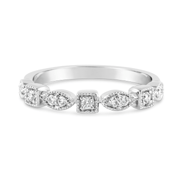 White Gold Marquise & Square Shaped Diamond Ring