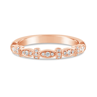 Rose Gold Marquise & Bar Diamond Stacking Ring