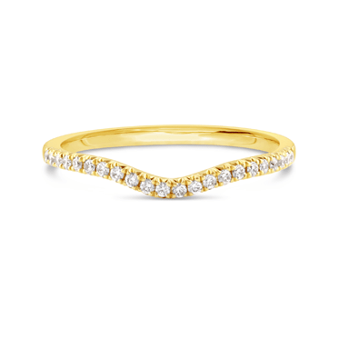 Yellow Gold Curved Diamond Ring