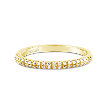 Yellow Gold Double Row Diamond Ring